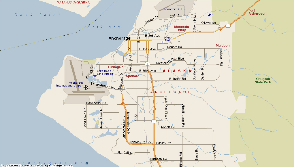 Similiar Map Of Anchorage Alaska And Surrounding Area Keywords